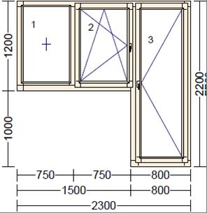 Деревянное окно из лиственницы Mod BB-8