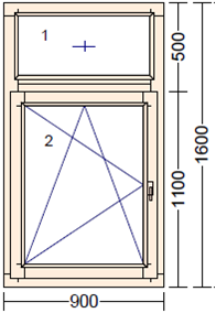Окно из лиственницы со стеклопакетом Mod FR-1