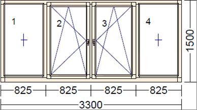 Деревянное окно из дуба BKLN-2