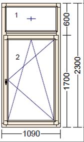 Окно из лиственницы со стеклопакетом Mod FR-3