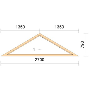 Глухое треугольное окно из лиственницы TR2