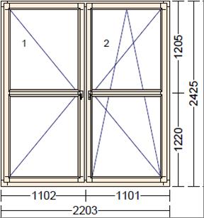Деревянное окно из лиственницы Mod PO-4