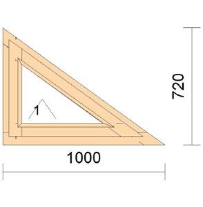 Треугольное откидное окно из сосны TR1